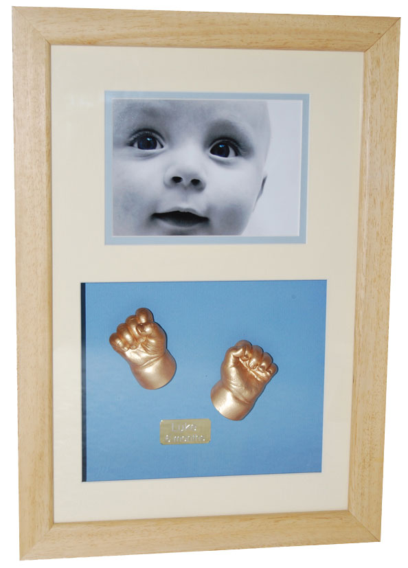 XL Photo with hand casts - gold finish - natural waxed frame