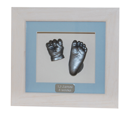 Hand & Foot Casts - Silver finish - White Waxed Frame