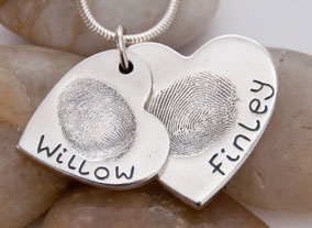 Medium and Large fingerprint pendant:  Heart