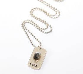 Silver fingerprint Dog tag with sterling silver ball chain