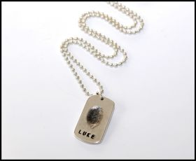 Silver fingerprint dog tag with sterling silver chain