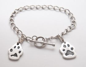 Silver T-Bar bracelet with charms