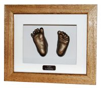 Pair of Feet Casts - Bronze finish - Natural waxed frame