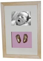 XL Photo with feet casts - gold finish - natural waxed frame