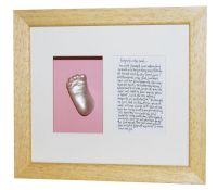 Single Foot Cast featuring poem - Cast Ivory finish - natural waxed frame